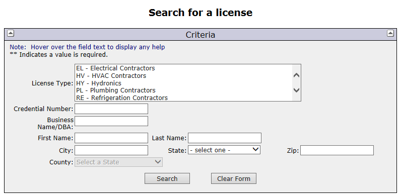 OCILB Licensee Lookup